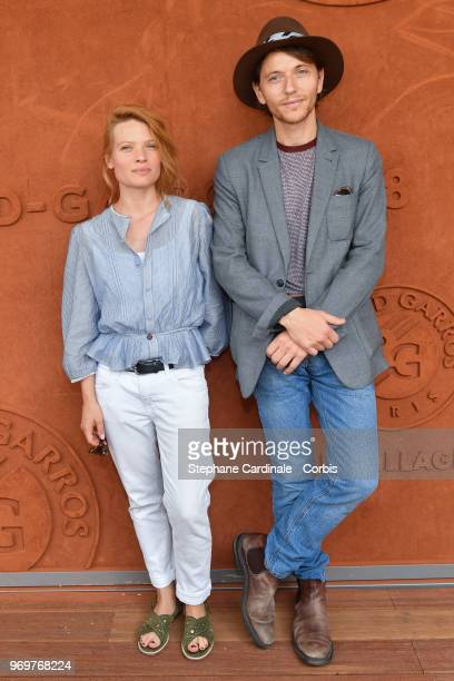Melanie Thierry and Raphael attend the 2018 French Open Day Thirteen at Roland Garros on June 8 2018 in Paris France