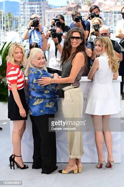 "Melanie Thierry, Josiane Balasko, Maiwenn and Galatea Bellugi attend the ""Tralala"" photocall during the 74th annual Cannes Film Festival on July 14,..."
