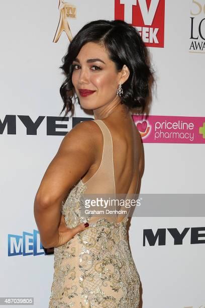 Melanie Vallejo arrives at the 2014 Logie Awards at Crown Palladium on April 27 2014 in Melbourne Australia