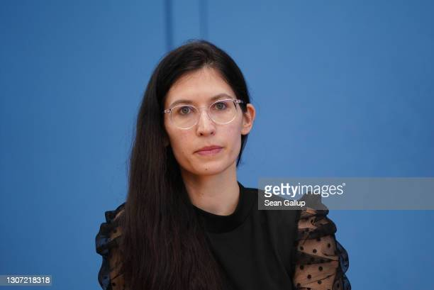 Melanie Wery-Sims, lead candidate of the left-wing Die Linke political party in Rhineland-Palatinate, speaks to the media the day after elections in...