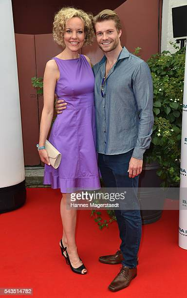 Melanie Wiegmann and Felix Maximilian during the Bavaria Film reception during the Munich Film Festival 2016 at Kuenstlerhaus am Lenbachplatz on June...