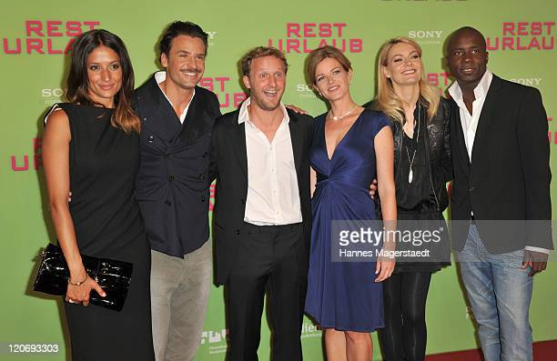 Melanie Winiger, Stephan Luca, Maximilian Brueckner, Mira Bartuschek, Martina Hill and Dave Davis attend the Germany Premiere 'Resturlaub' at the...