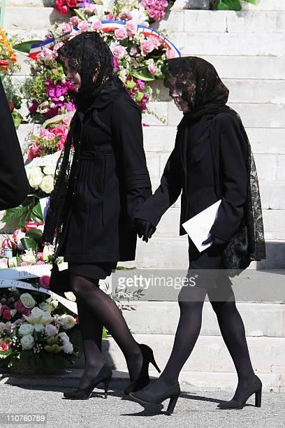Melanie-Antoinette de Massy and Elisabeth-Anne de Massy attend the funeral of Princess Melanie-Antoinette at Cathedrale Notre-Dame-Immaculee de...