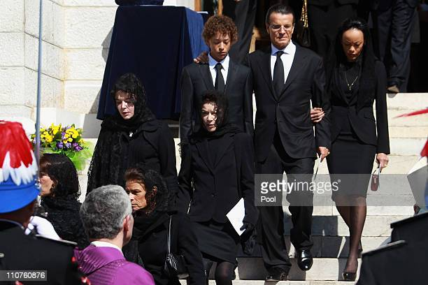 MelanieAntoinette de Massy ElisabethAnne de Massy and Christian de Massy attend the funeral of Princess MelanieAntoinette at Cathedrale...