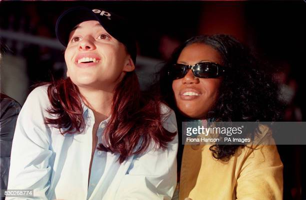 Melanine Blatt and Shaznay Lewis from the Girl band All Saints , during the press preview day of The London Motor Show 1999 held at Earls Court,...