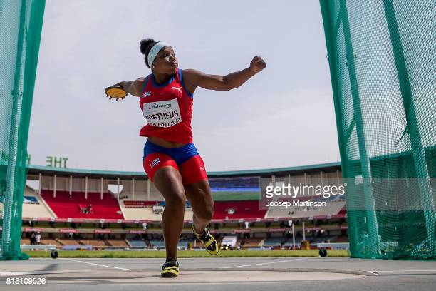 Melany Matheus of Cuba competes in the girls discus throw qualification during the IAAF U18 World Championships at Moi International Sports Centre...
