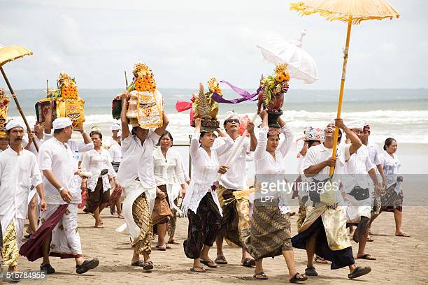 melasti day in bali - melasti stock photos and pictures
