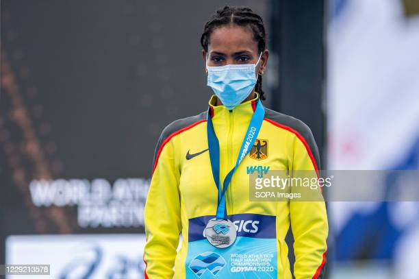 Melat Yisak Kejeta of Germany with a silver medal of 2020 IAAF World Half Marathon Championships in Gdynia
