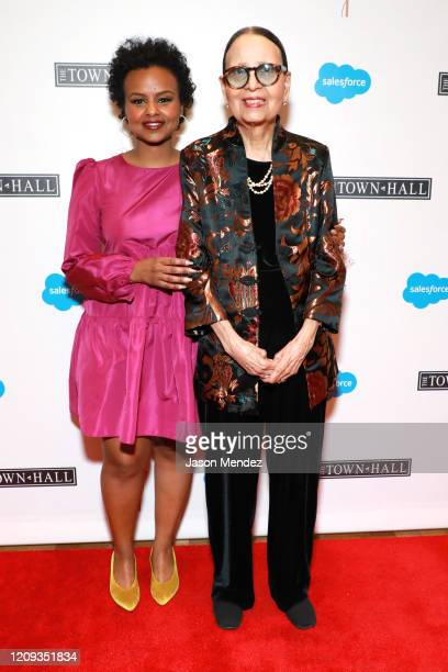 Melay Araya and Gail Lumet Buckley attend the Lena Horne Prize Event Honoring Solange Knowles Presented by Salesforce at the Town Hall on February 28...