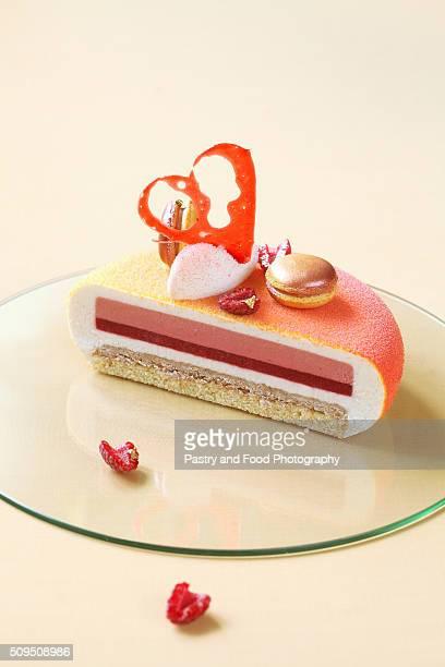 Melba - Contemporary  Layered Vanilla, Raspberry, Peach Mousse Cake