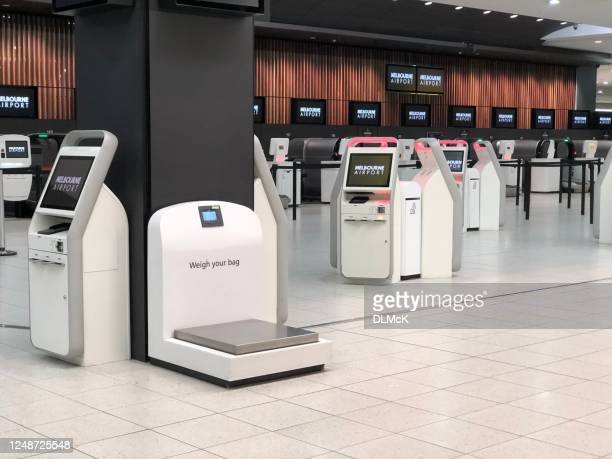 melbourne airport empty of people - travel ban stock pictures, royalty-free photos & images
