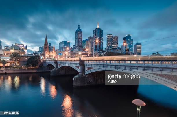 melbourne at night - victoria australia stock pictures, royalty-free photos & images