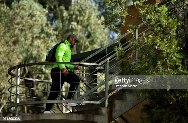 Melbourne Australia 12 June 2018 Bundee Aki arrives for Ireland rugby squad training at St Kevin's College in Melbourne Australia