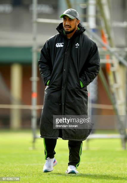 Melbourne Australia 12 June 2018 Bundee Aki during Ireland rugby squad training at St Kevin's College in Melbourne Australia