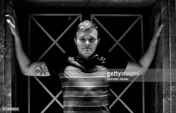 Melbourne Australia 12 June 2018 Jacob Stockdale poses for a portrait during an Ireland rugby press conference in Melbourne Australia