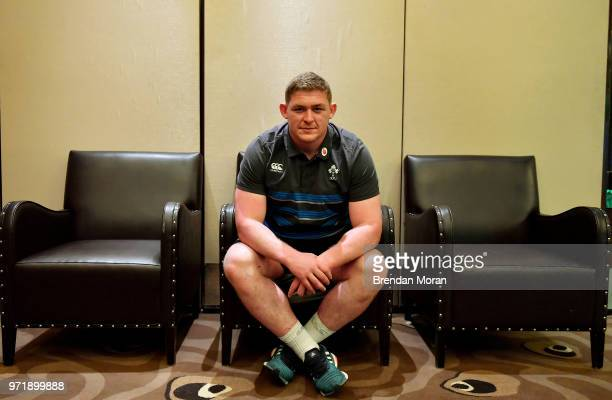 Melbourne Australia 12 June 2018 Tadhg Furlong poses for a portrait during an Ireland rugby press conference in Melbourne Australia