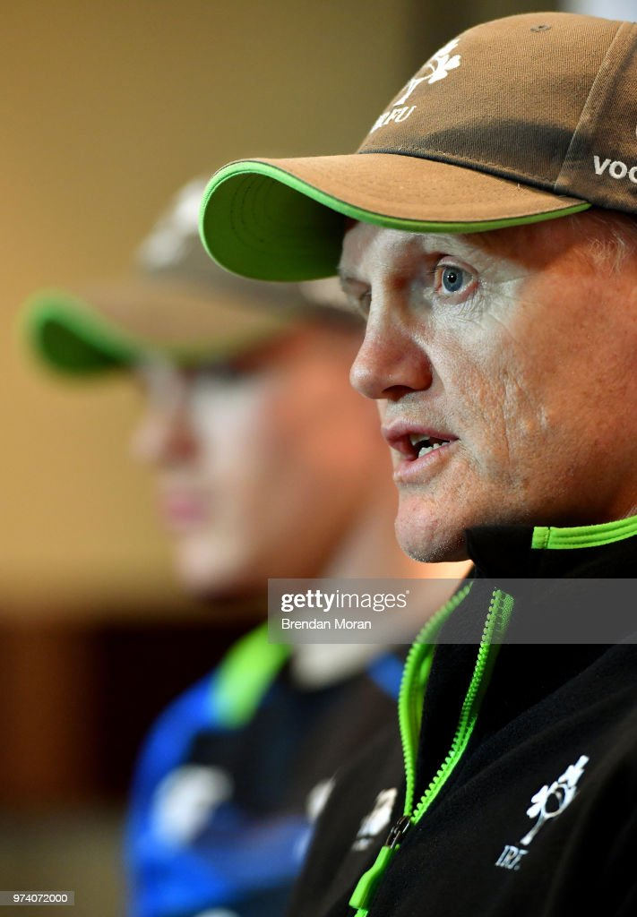 Melbourne , Australia - 14 June 2018; Head coach Joe Schmidt speaks to the media during an Ireland rugby press conference in Melbourne, Australia.