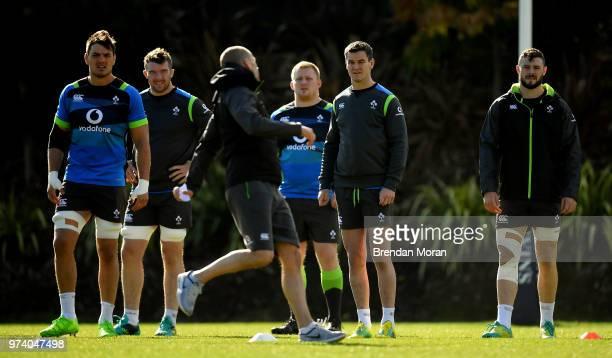 Melbourne Australia 14 June 2018 Ireland players from left Quinn Roux Peter O'Mahony John Ryan Jonathan Sexton and Robbie Henshaw watch strength...