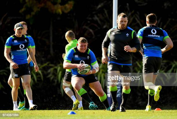 Melbourne Australia 14 June 2018 Tadhg Furlong centre during Ireland rugby squad training at St Kevin's College in Melbourne Australia