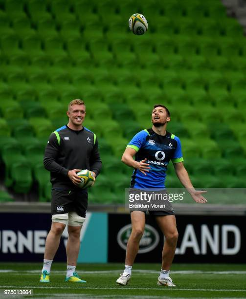 Melbourne Australia 15 June 2018 Dan Leavy left and Ross Byrne during the Ireland rugby squad captain's run in AMMI Park in Melbourne Australia