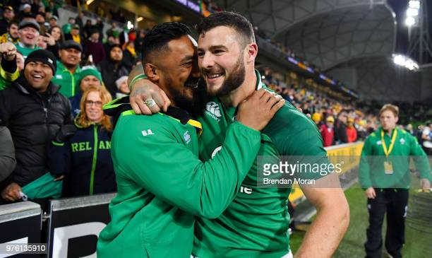 Melbourne Australia 16 June 2018 Bundee Aki left and Robbie Henshaw of Ireland celebrate after the 2018 Mitsubishi Estate Ireland Series 2nd Test...