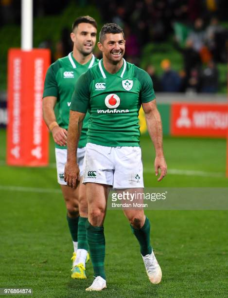 Melbourne Australia 16 June 2018 Rob Kearney and Conor Murray of Ireland after the 2018 Mitsubishi Estate Ireland Series 2nd Test match between...