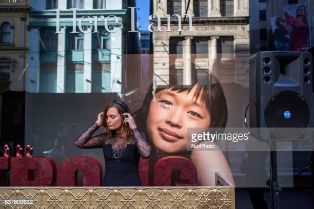 Melbourne Australia 17 march 2017 a DJ girl mix during a commercial event in a street of the business district Melbourne is ranked as the worlds most...