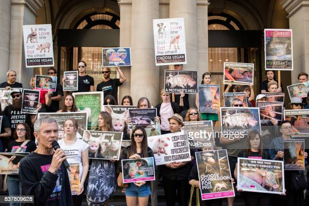 Melbourne Australia 18 march 2017 Vegan activist protest against animal s violence in the central business district Melbourne is ranked as the worlds...