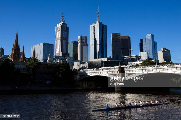 Melbourne Australia 27 march 2017 A view of the skyline from the Yarra river Melbourne is ranked as the worlds most liveable city for the sixth year...