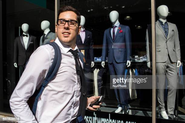 Melbourne Australia 28 march 2017 A business man walks in the street of the central business district Melbourne is ranked as the worlds most liveable...