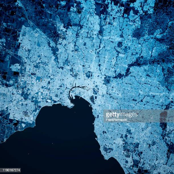 melbourne australia 3d render map blue top view oct 2019 - frank ramspott stock pictures, royalty-free photos & images