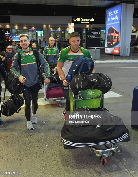 Melbourne Australia 6 November 2017 Eoin Cadogan and Niall Sludden left as the 2017 Ireland International Rules Squad arrive in Melbourne at...