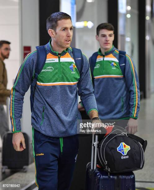 Melbourne Australia 6 November 2017 Garry Brennan left and Niall Grimley as the 2017 Ireland International Rules Squad arrive in Melbourne at...