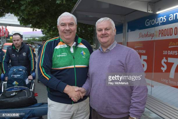 Melbourne Australia 6 November 2017 Manager Joe Kernan left with Uachtarán Chumann Lúthchleas Gael Aogán Ó Fearghail as the 2017 Ireland...