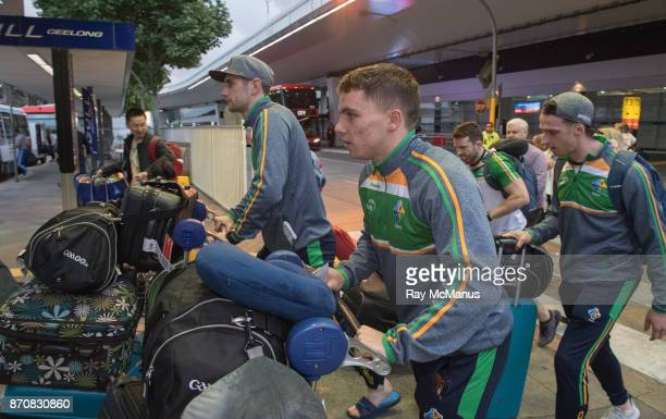 Melbourne Australia 6 November 2017 Paul Geaney left Sean Powter centre and Niall Morgan as the 2017 Ireland International Rules Squad arrive in...