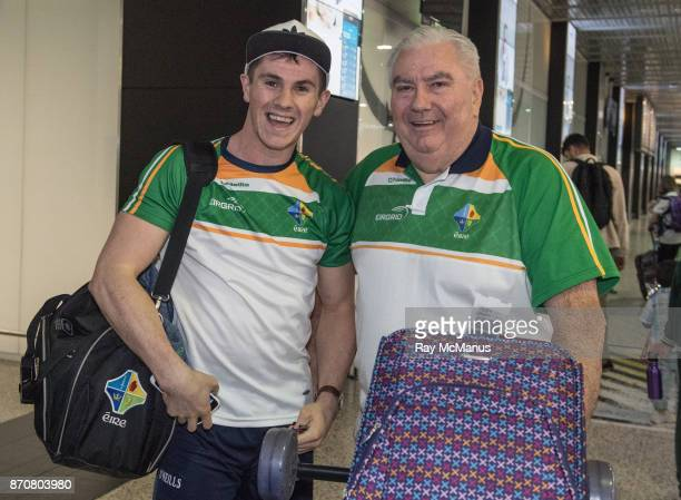 Melbourne Australia 6 November 2017 Shane Walsh left and manager Joe Kernan as the 2017 Ireland International Rules Squad arrive in Melbourne at...