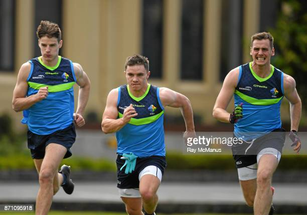 Melbourne Australia 7 November 2017 Niall Grimley left Sean Powter and Conor Sweeney right during Ireland International Rules squad training at...