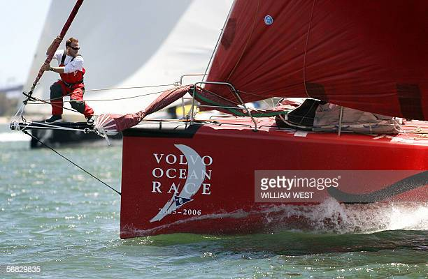 A bowman works on US yacht Pirates of the Caribbean skippered by Paul Cayard as they set sail on the third leg of the Volvo Ocean Race from Melbourne...