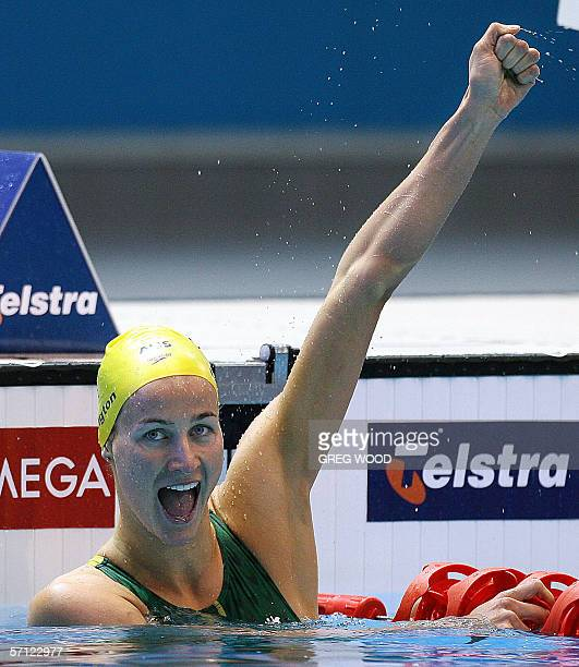 Australian Sophie Edington jubilates after winning the women's 100m backstroke finals during the Commonwealth Games 2006 in Melbourne 18 March 2006...