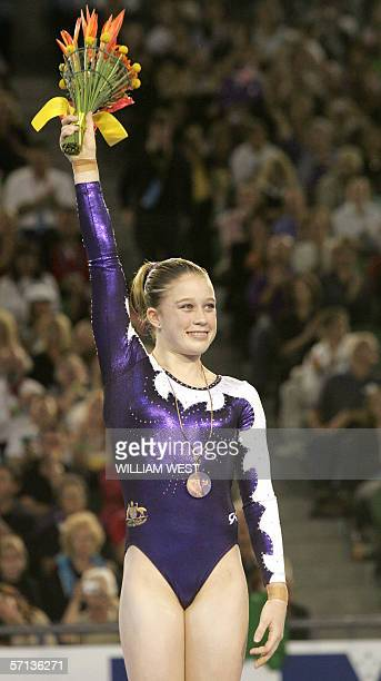 Australia's Naomi Russell celebrates winning bronze in the final of the Women's Vault Apparatus during the Artistic Gymnastics at the 2006 Melbourne...