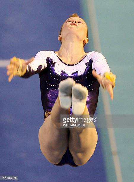 Australia's Naomi Russell sails through the air on the way to winning bronze in the final of the Women's Vault Apparatus during the Artistic...