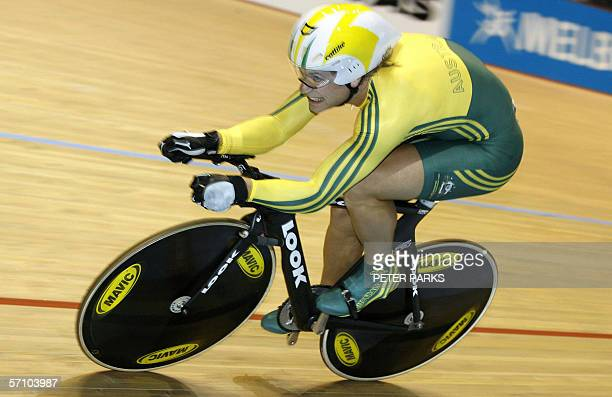 Ben Kirsten of Australia powers to win the men's 1km time trial in a time of 1min 01815 sec at the Commonwealth Games in the Multi Purpose Arena at...