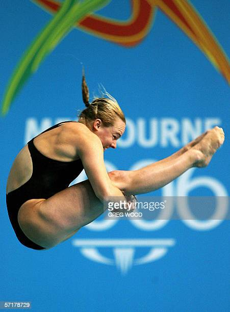 Canada's Blythe Hartley performs a dive during the Commonwealth Games women's 3m springboard preliminary round at the Melbourne Sports and Aquatic...
