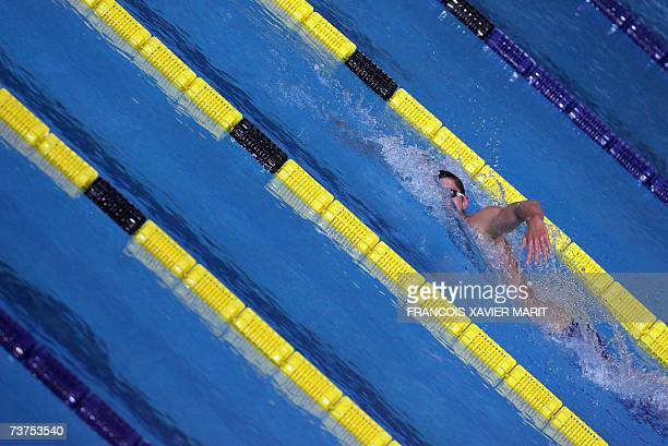 David Davies of Britain swims in his heat in the men's 1500m freestyle 31 March 2007 at the 12th FINA World Swimming Championships in Melbourne...