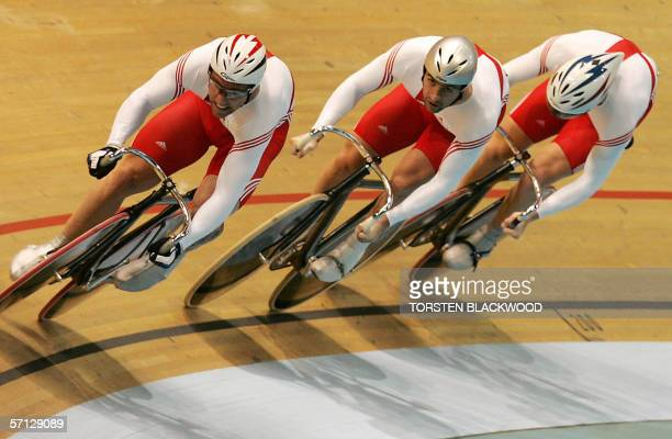 England's Jamie Staff , Jason Queally and Matthew Crampton power their way to silver in the cycling final of the men's team sprint race at the XVIII...