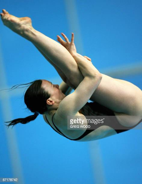 England's Rebecca Gallantree performs a dive during the Commonwealth Games women's 3m springboard preliminary round at the Melbourne Sports and...