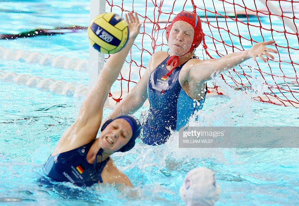 Germany's Linda Gerritsen and goalkeeper Simone Budde