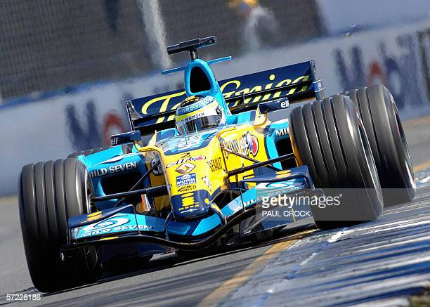 Giancarlo Fisichella of Italy runs his Renault wide onto the ripple strip during the qualifying session of the Australian Formula One Grand Prix in...