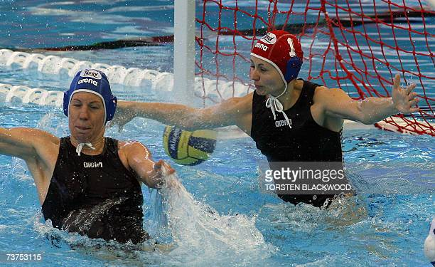 Hungarian goalkeeper Patricia Horvath and Orsolya Takacs fails to prevent the ball from entering their net 31 March 2007 during the Russia vs Hungary...