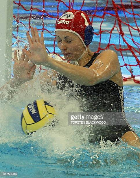 Hungarian goalkeeper Patricia Horvath blocks a Russian shoot 31 March 2007 during the Russia vs Hungary women water polo third place final of the...